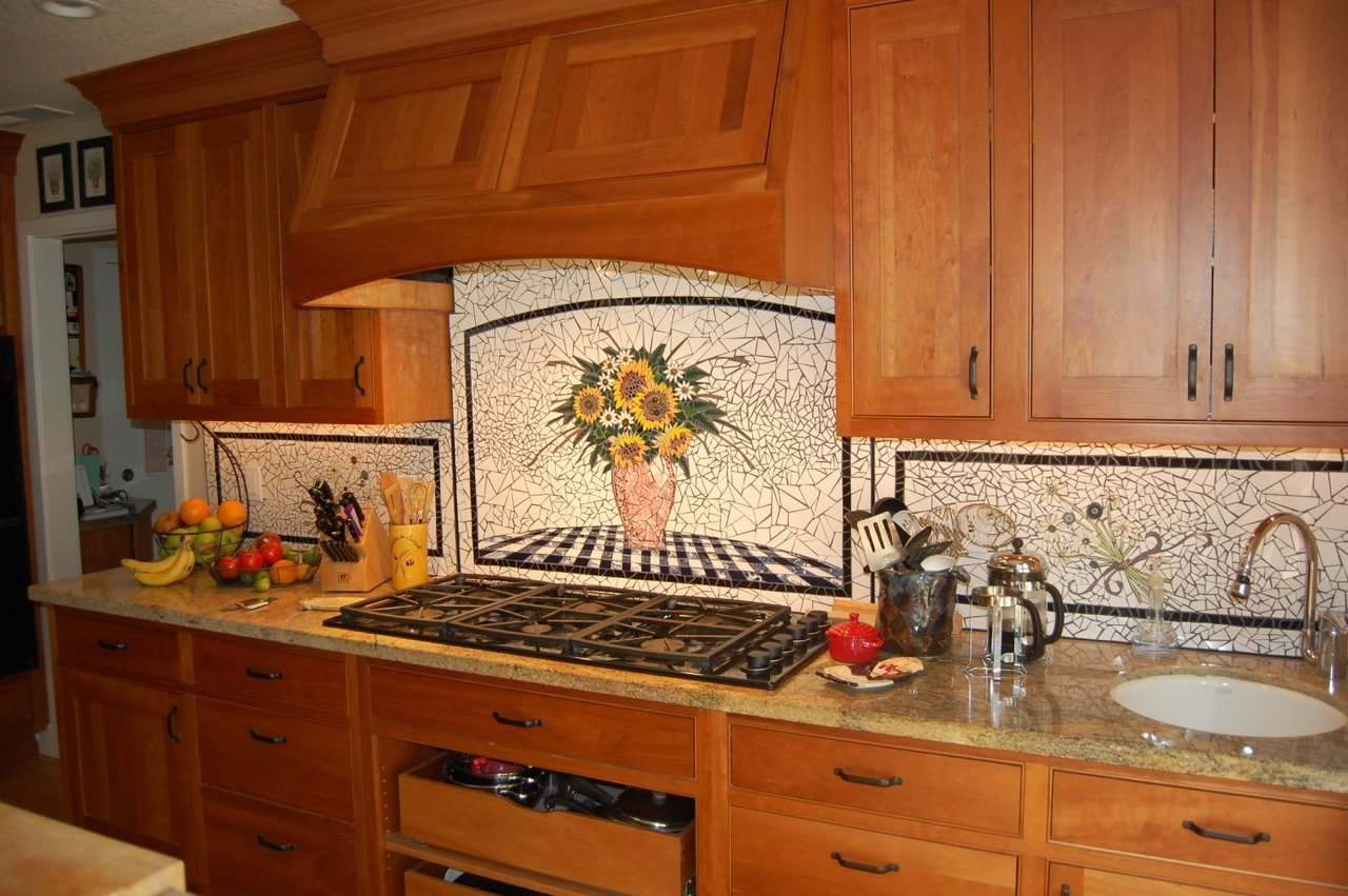 """Mecha-Floral"" Mosaic Kitchen Backsplash"