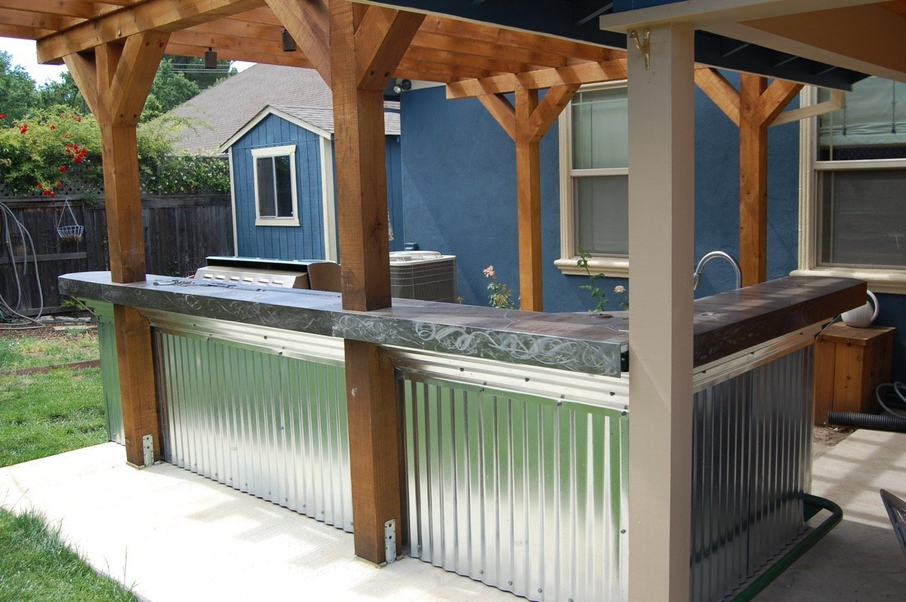 Bar Front. Corrugated metal was existing.